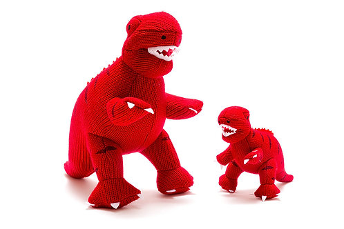 KNITTED RED T REX DINO SOFT TOY, MEDIUM