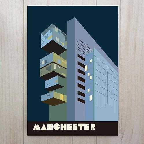 Manchester Civil Justice Centre Art Print - A4 Midnight Blue