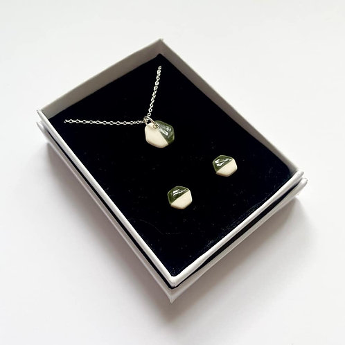Forest Green Hexagon Pendant Necklace and Stud Earring Gift Set