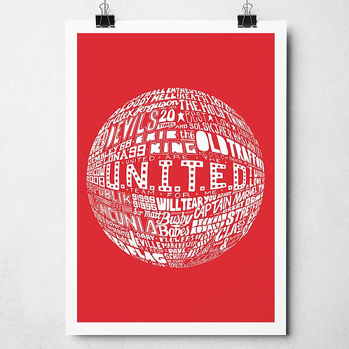 Manchester United Print - White on Red
