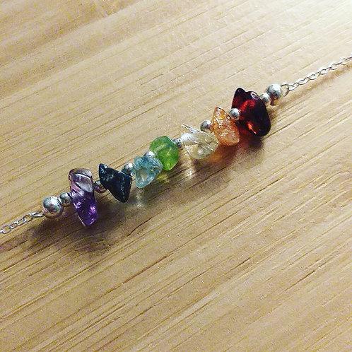 Rainbow Sterling Silver Gemstone Bar Necklace