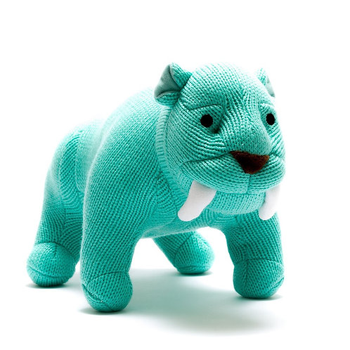 BLUE KNITTED SABRE TOOTH TIGER SOFT TOY, MEDIUM