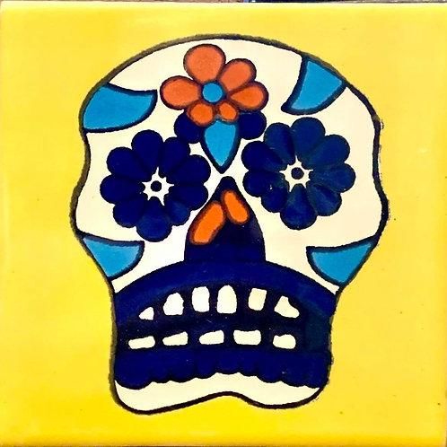 Mexican Tile Coaster Neon Skull