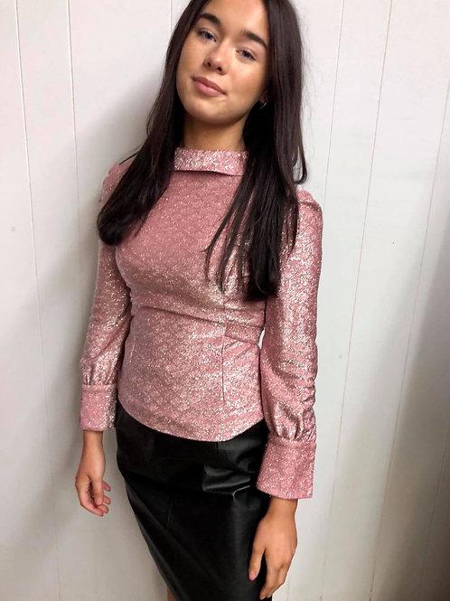 Pink Shimmer Top/Black Leather Skirt