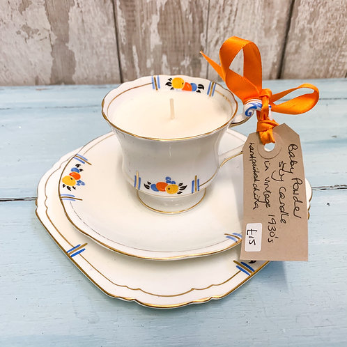 Baby Powder Scented Soy Candle in a vintage china tea cup