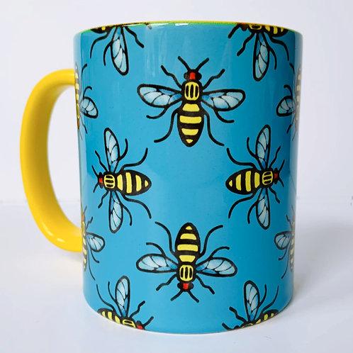 Manchester Bee Mug Blue