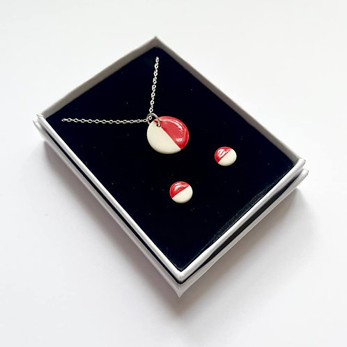 Red Circle Pendant Necklace and Stud Earring Gift Set