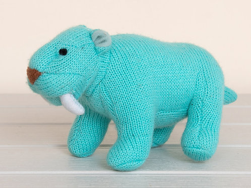 KNITTED SABRE TOOTH TIGER RATTLE, SMALL