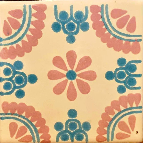 Mexican Tile Blue & Pink Rosette