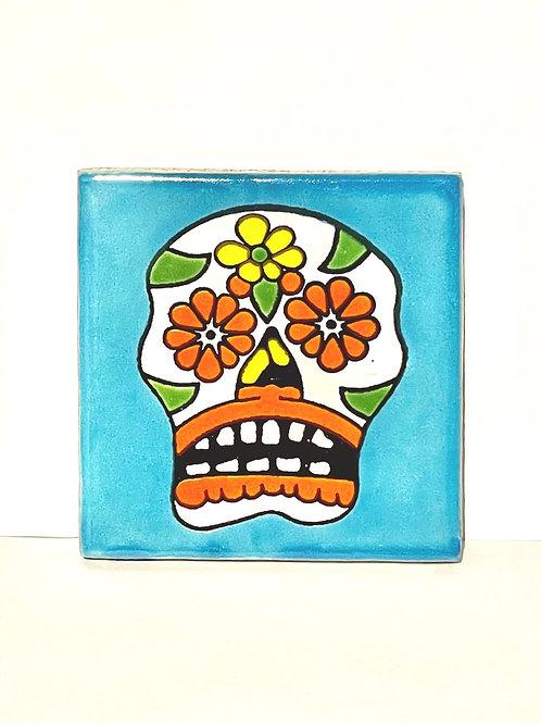 Mexican Tile Coaster Azure Skull