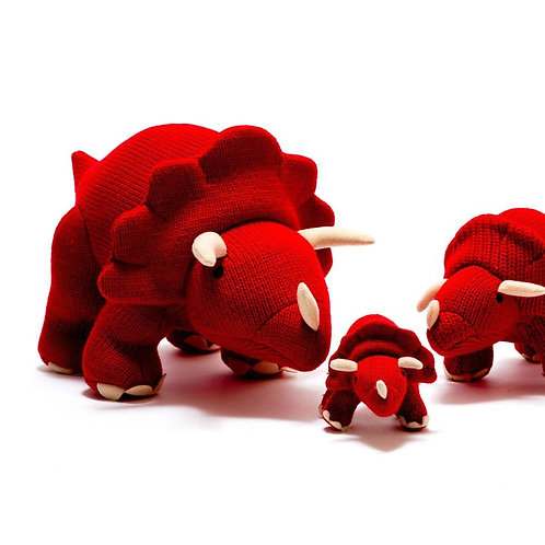 KNITTED  RED TRICERATOPS DINO SOFT TOY, LARGE