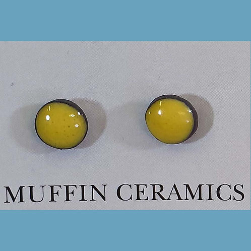 Yellow Round Porcelain Studs
