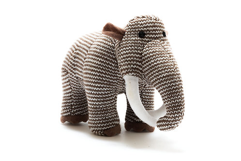 WOOLLY MAMMOTH KNITTED RATTLE, SMALL