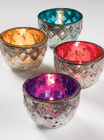 Crackle Glass Tealight Holder with Metal