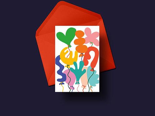 Birthday Balloons Greetings Card