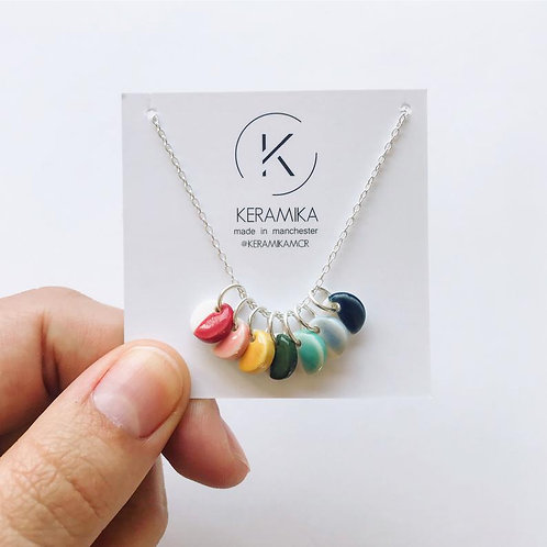 Porcelain and Sterling Silver Rainbow Multi Pendant Necklace