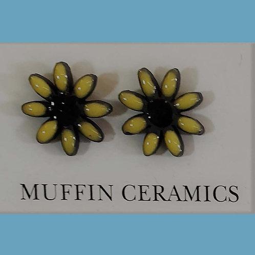 Yellow/Black Daisy Porcelain Studs
