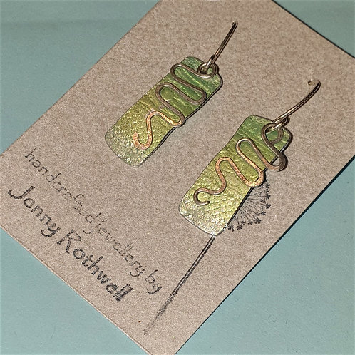 Silver and Green Ombre Earrings