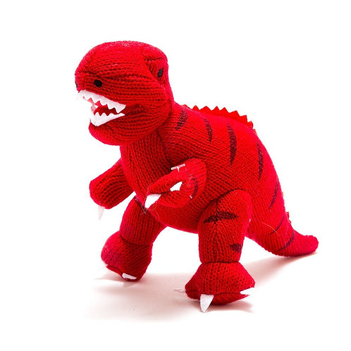 KNITTED RED T REX  DINO RATTLE, SMALL