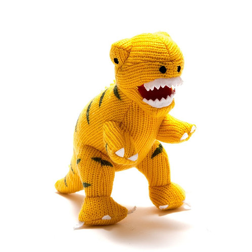 KNITTED YELLOW T REX DINO RATTLE, SMALL