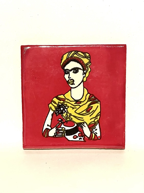 Mexican Tile Coaster Frida Red