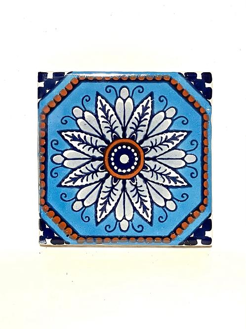 Mexican Tile Coaster Margherita Blue