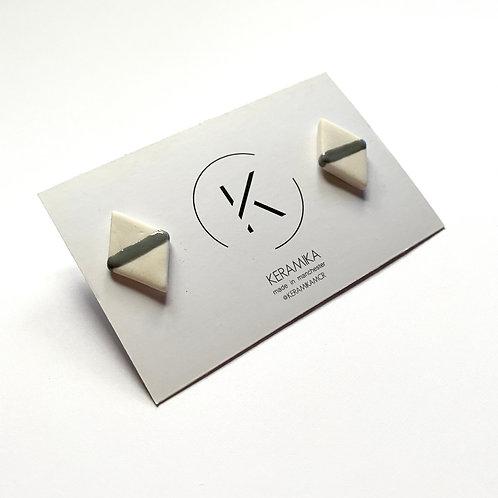 Large Diamond Porcelain Stud Earrings with Single Line Glaze in Grey