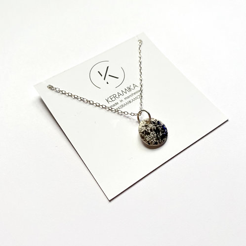 Medium Circle Porcelain Pendant Necklace with Splatter Glaze in Black