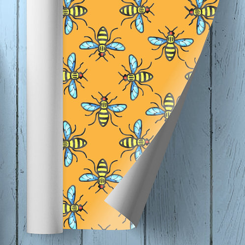 Manchester Bee wrapping paper orange