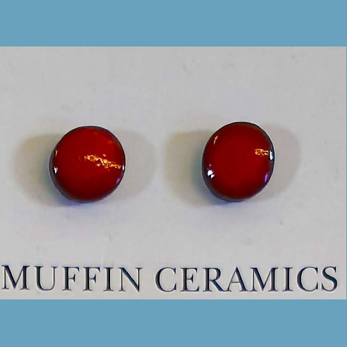 Red Round Porcelain Studs