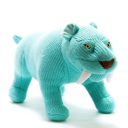 KNITTED SABRE TOOTH TIGER SOFT TOY, LARGE