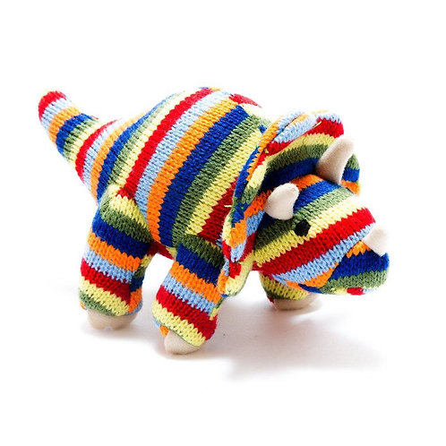 KNITTED STRIPE TRICERATOPS  DINO BABY RATTLE, SMALL