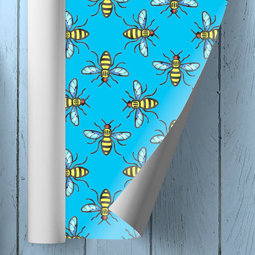 Manchester Bee Wrapping Paper Blue