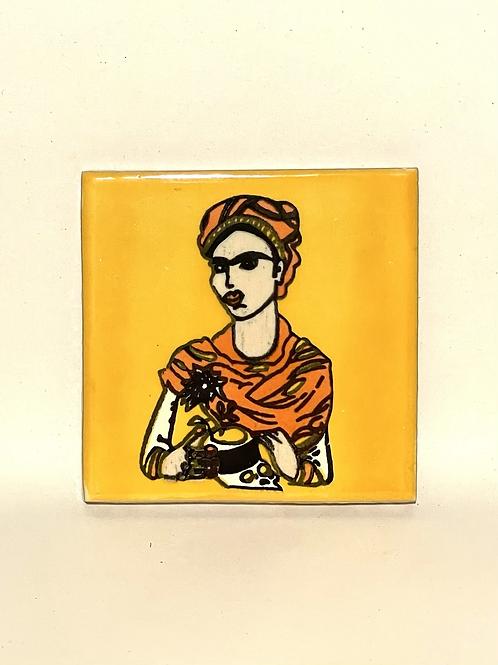 Mexican Tile Coaster Frida Mustard
