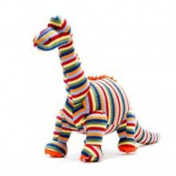 KNITTED STRIPE DIPLODOCUS  DINO SOFT TOY, MEDIUM