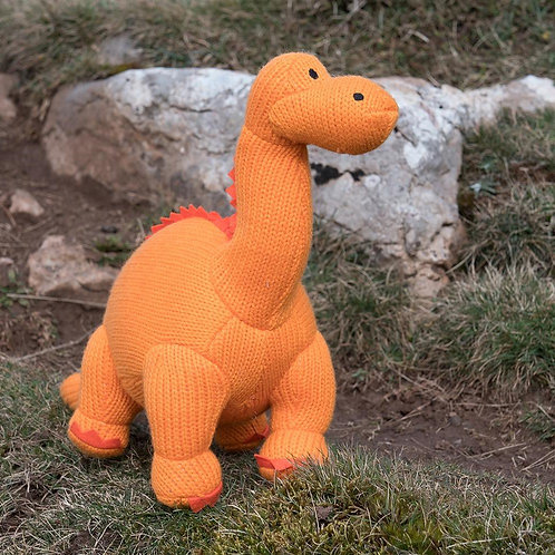 KNITTED ORANGE DIPLODOCUS SOFT TOY, LARGE