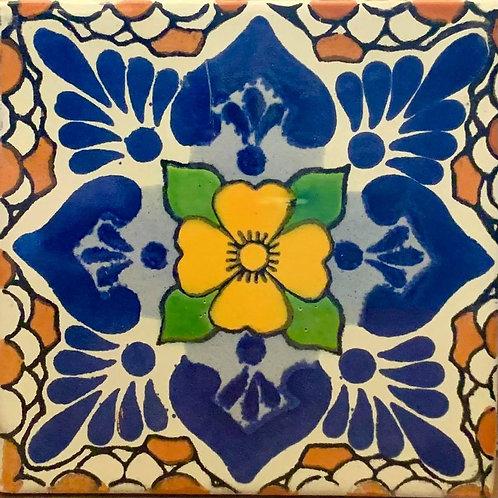 Mexican Tile Coaster - Orange Flower