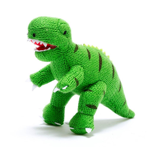 KNITTED GREEN T REX  DINO RATTLE, SMALL