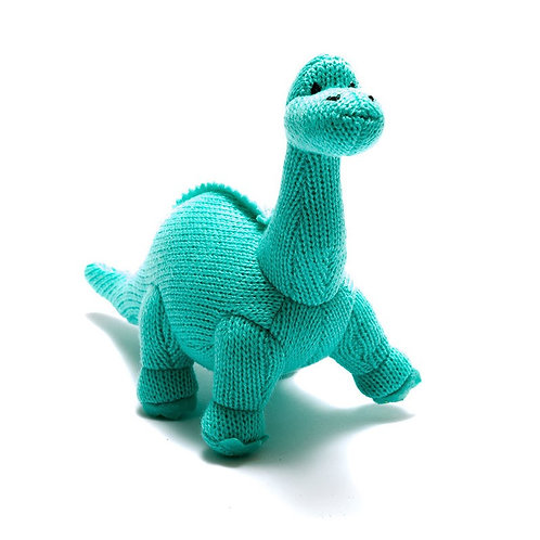 KNITTED ICE BLUE DIPLODOCUS RATTLE, SMALL