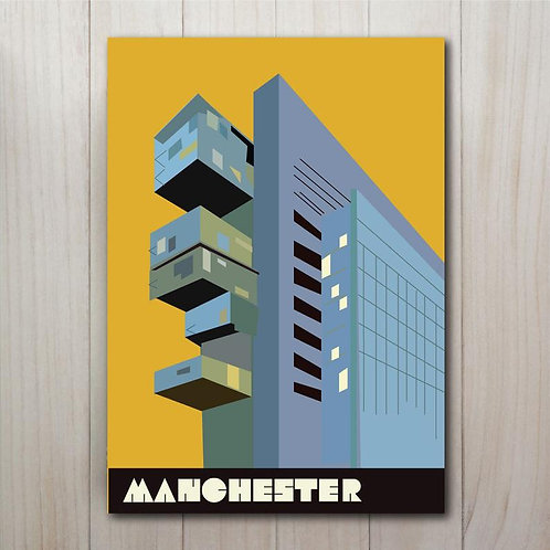 Manchester Civil Justice Centre Art Print - A4 Mustard