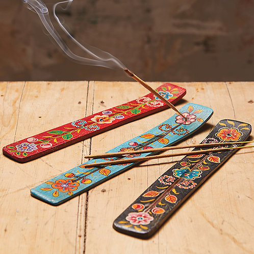 Hand painted wooden incense stick holder
