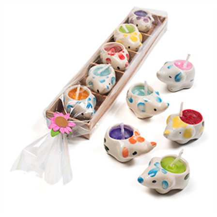 5 Elephant Mini Candles in Wooden Box