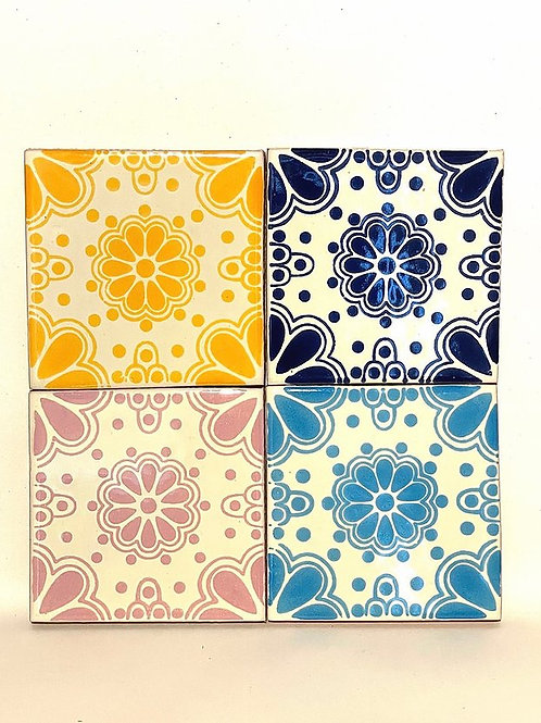 Mexican Tile Coaster - Set of 4 Rosette