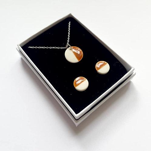Burnt Orange Circle Pendant Necklace and Stud Earring Gift Set