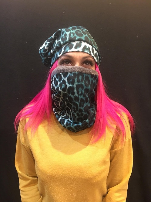 Snood and Beanie Leopard Green