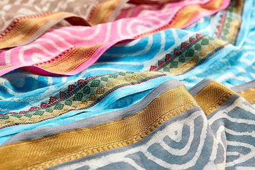 Dabu block printed cotton sarong with brocade