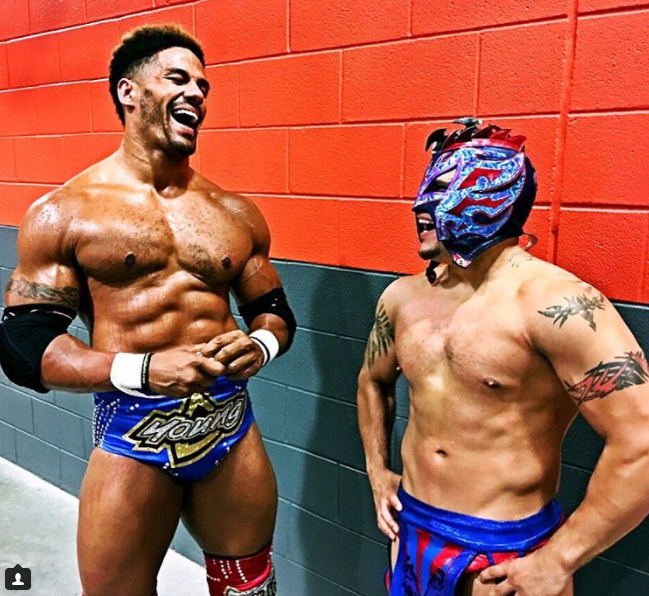 Darren Young & Kalisto geared up backstage before an event (courtesy of Instagram)