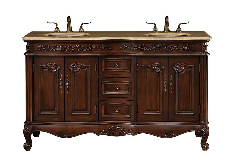 """60"""" Saturn Double Sink Vanity with Travertine Marble Top"""