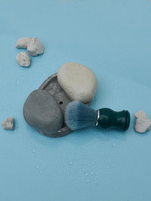 Shaving soap bar with a vegan shaving brush