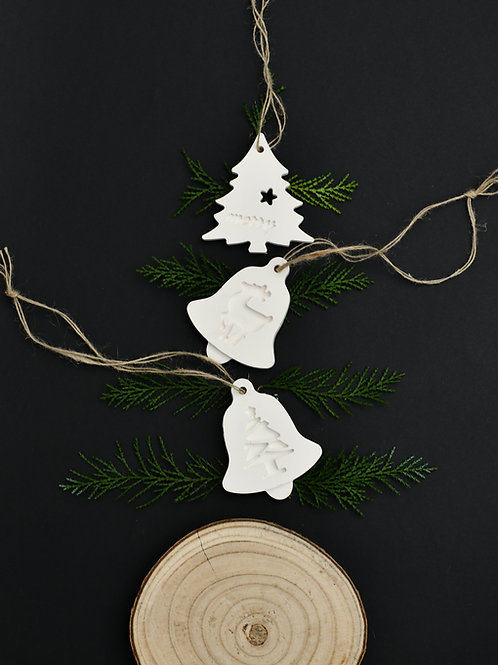 Scented Clay disc- Trio of Large Xmas Baubles